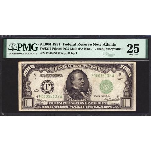 FR. 2211-F $1000 1934 FRN Atlanta PMG 25