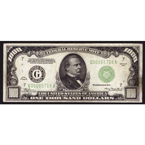 FR. 2211-G $1000 1934 FRN Chicago Very Fine Net