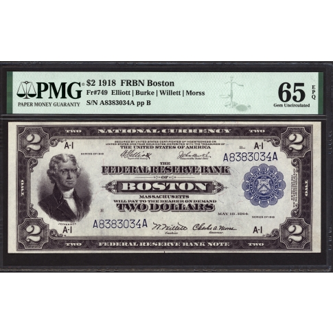 FR 749 $2 1918 Federal Reserve Bank Note Boston PMG 65 EPQ