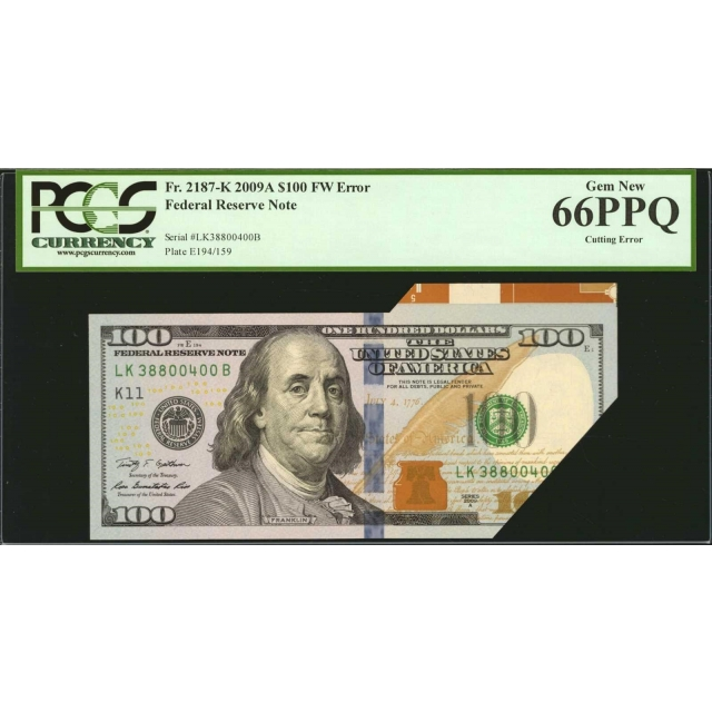 FR. 2187-K $100 2009A Error FRN Dallas PCGS 66 PPQ