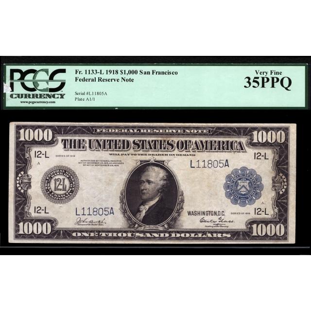 FR. 1133-L $1000 1918 FRN San Francisco PCGS 35 PPQ