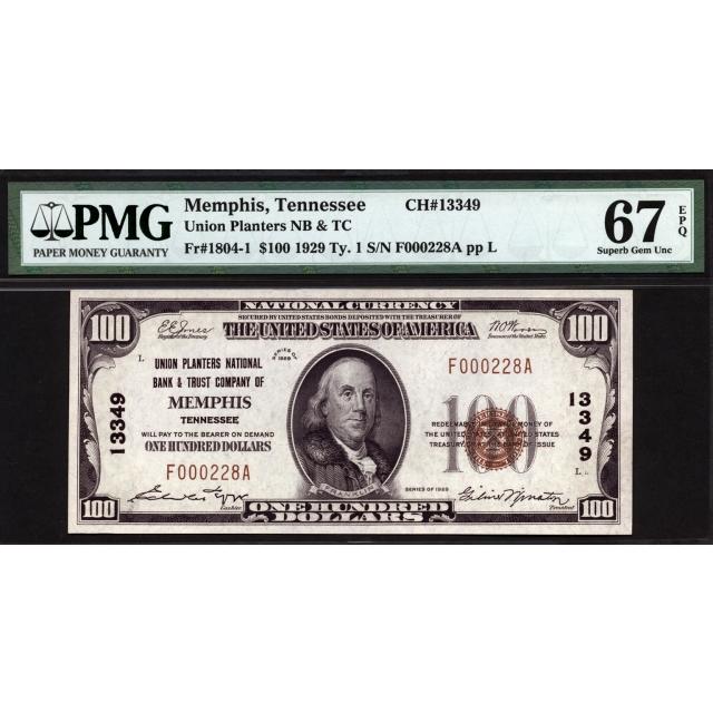 FR. 1804-1 $100 1929 Type 1 National Bank Note PMG 67EPQ
