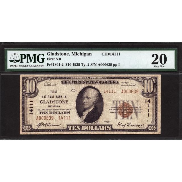 Gladstone - Michigan - CH 14111 - FR 1801-2 - PMG 20