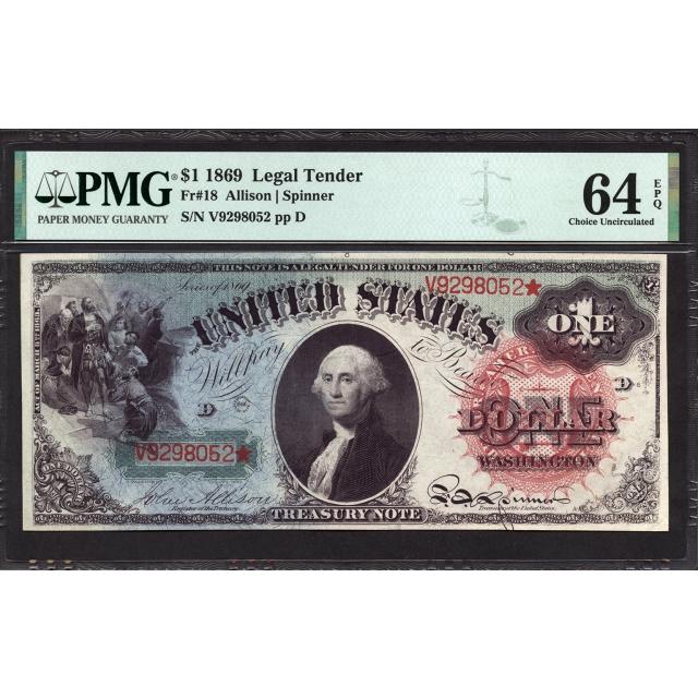 FR  18 $1 1869 Legal Tender PMG 64 EPQ