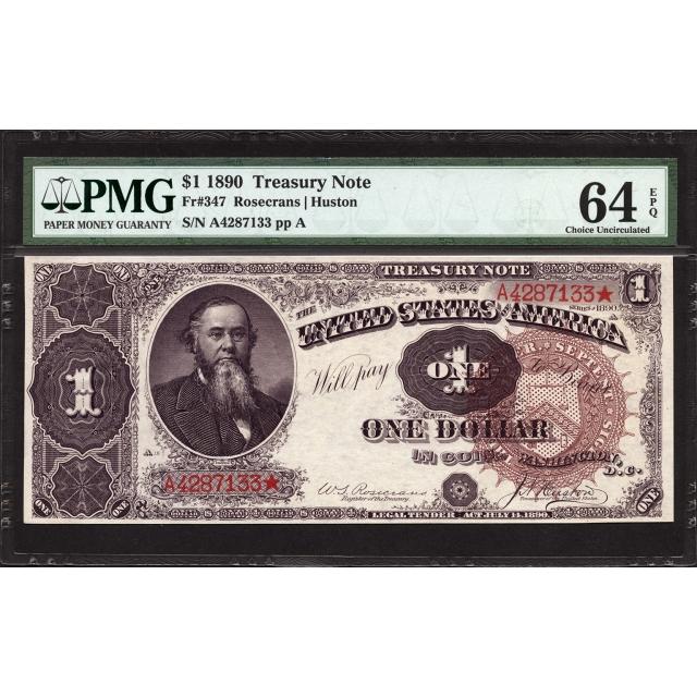 FR 347 $1 1890 Treasury Note PMG 64 EPQ