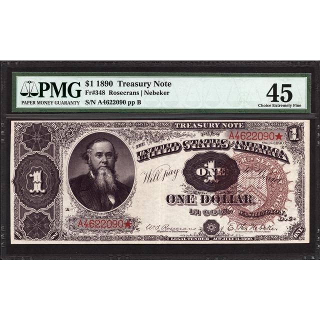 FR 348 $1 1890 Treasury Note PMG 45