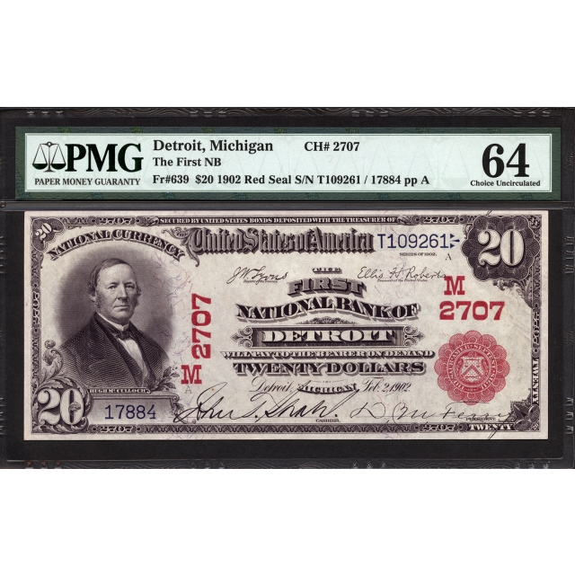 FR 639 $20 1902 Red Seal National Bank Note PMG 64