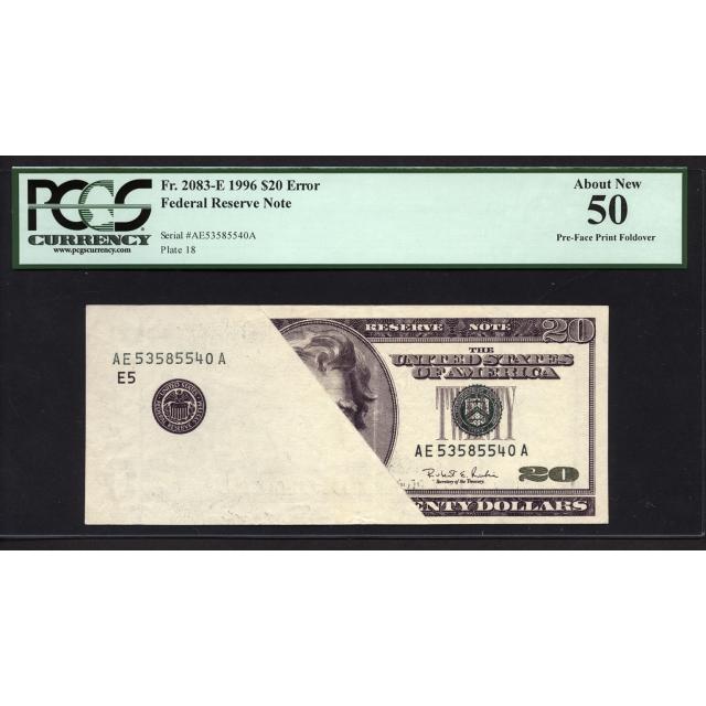 FR. 2083-E $20 1996 ERROR FRN Richmond PCGS 50