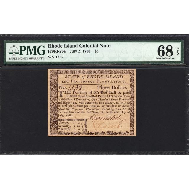 FR. RI-284 $3 July 2, 1780 Rhode Island Colonial Note PMG 68 EPQ