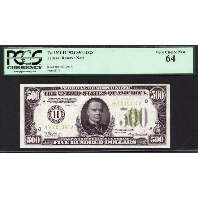 FR. 2201-H  $500  1934  FRN St. Louis  Light Green Seal  PCGS 64