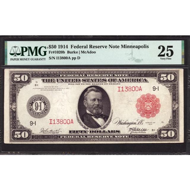 FR. 1020b $50 1902 Red Seal FRN Minneapolis PMG 25