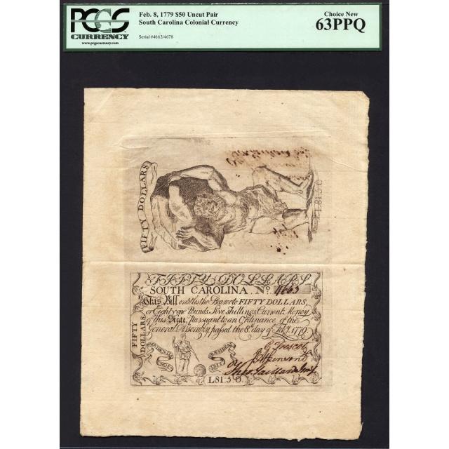 FR. SC-154 $50 Feb. 8, 1779 South Carolina Colonial Uncut Pair PCGS 63 PPQ