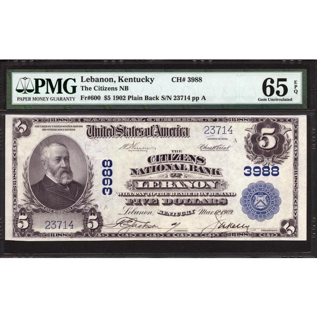 FR 600 $5 1902 PB National Bank Note PMG 65 EPQ