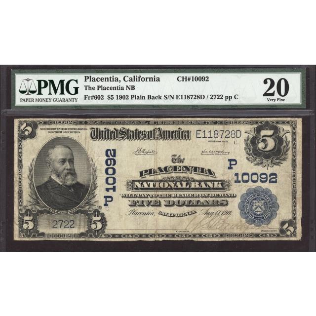Placentia - California - CH 10092 - FR 602 - PMG 20
