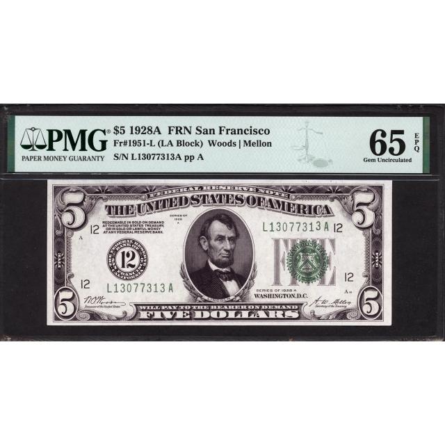 FR. 1951-L $5 1928A Federal Reserve Note San Francisco PMG 65 EPQ