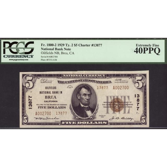 Brea - California - CH 13877 - FR 1800-2 - PCGS 40 PPQ