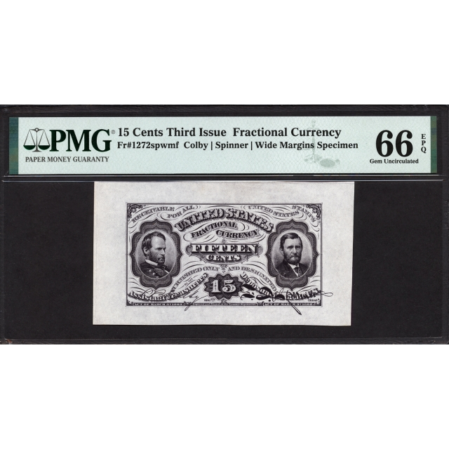 FR. 1272 Third Issue 15¢ Fractional Currency PMG 66 EPQ