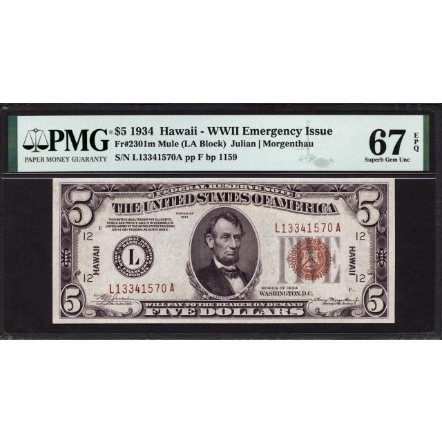 Fr. 2301m  $5  1934  Hawaii WWII Emergency Note  PMG 67 EPQ