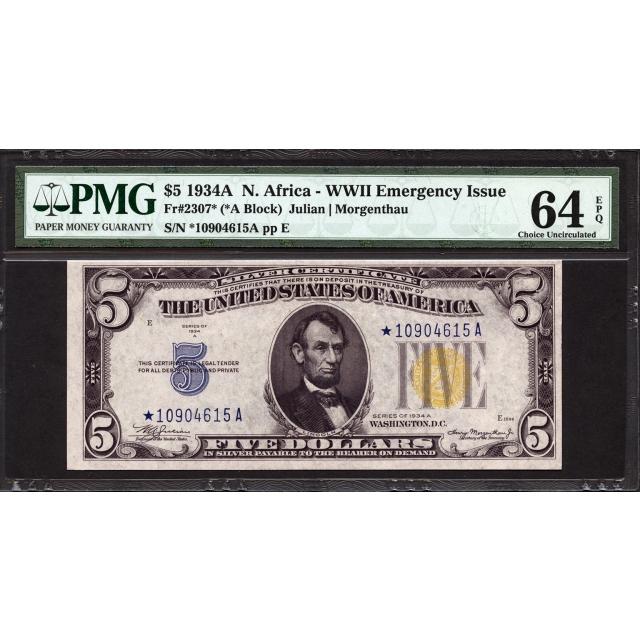 FR. 2307* $5 1934A North Africa Emergency Star Note PMG 64 EPQ