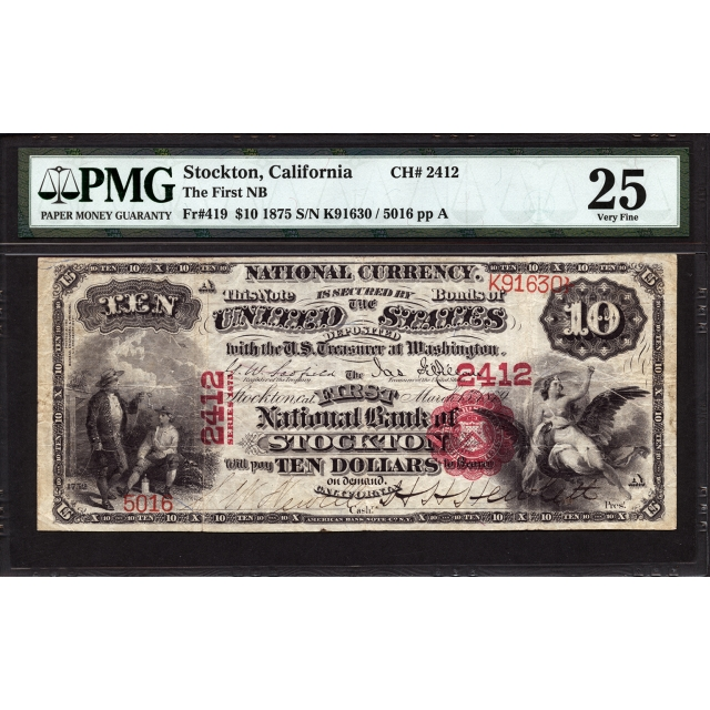 FR 419 $10 1875 National Bank Note PMG 25