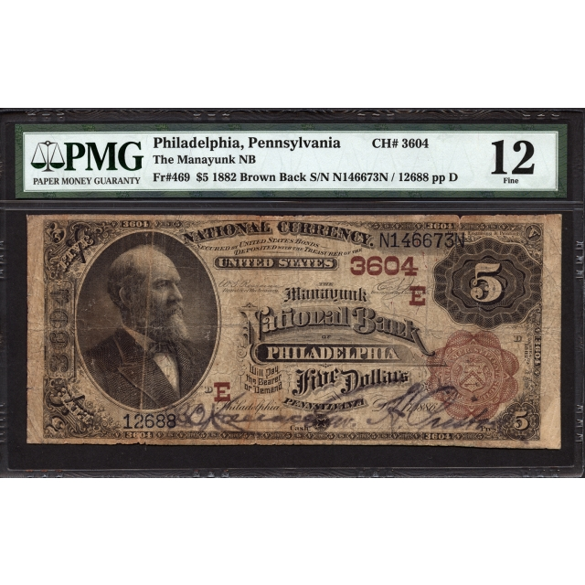 FR 469 $5 1882 Brown Back National Bank Note PMG 12