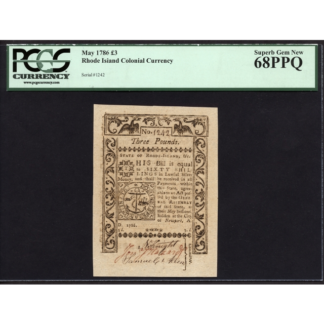 FR. RI-301 3 Pounds May 1786 Rhode Island Colonial Note PCGS 68 PPQ