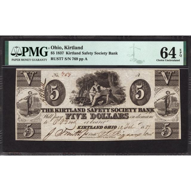 Rust    7 $5 1837 Mormon Paper Money PMG 64 EPQ