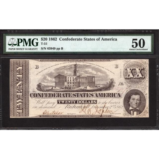 T-51 $20 1862 Confederate States of America PMG 50
