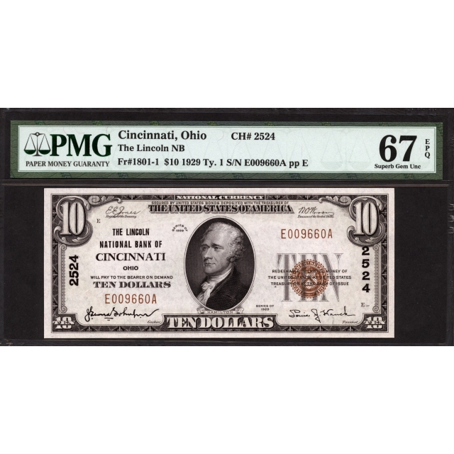 FR. 1801-1 $10 1929 Type 1 National Bank Note PMG 67 PPQ