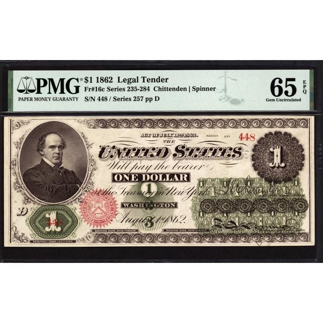 FR  16c $1 1862 Legal Tender PMG 65 EPQ