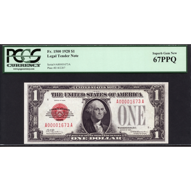 FR. 1500 $1 1928 Legal Tender PCGS 67 PPQ