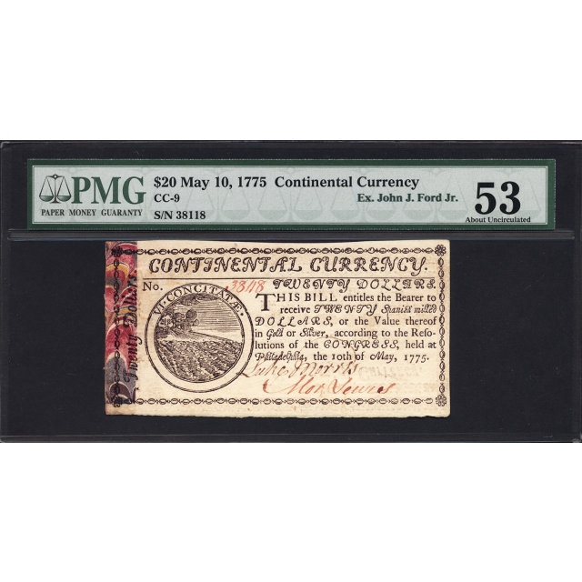 FR. CC-009 $20 May 10, 1775 Continental Currency PMG 53