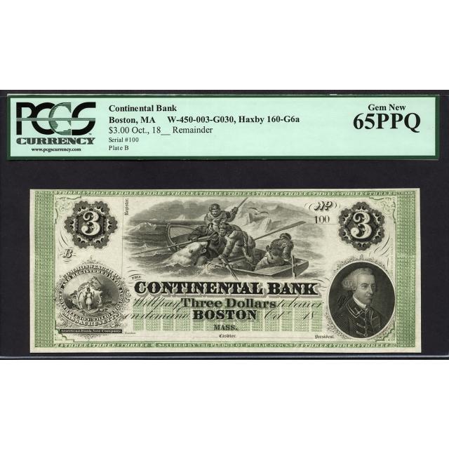 $3 1860's The Continental Bank, Boston - Polar Bear Note PCGS 65 PPQ