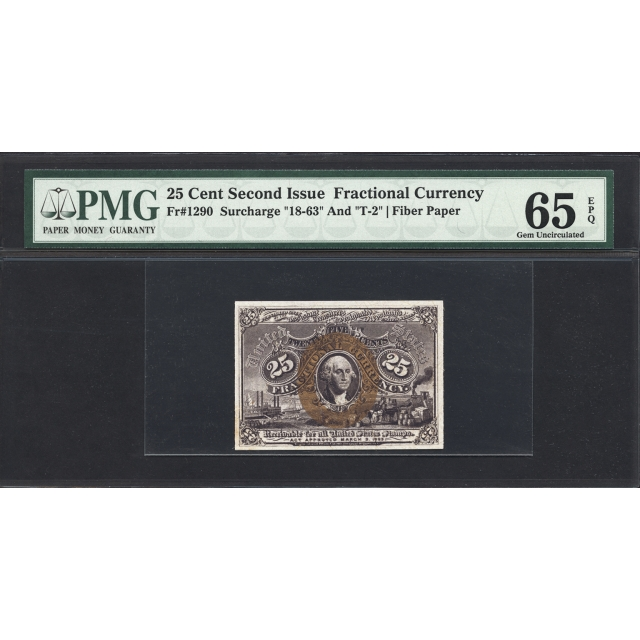 FR. 1290 Second Issue 25¢ Fractional Currency PMG 65 EPQ