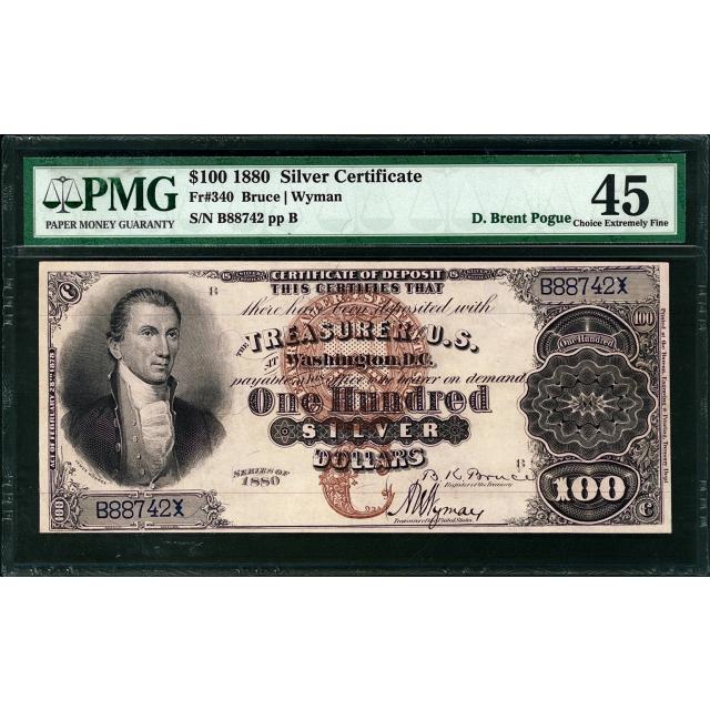 FR 340 $100 1880 Silver Certificate PMG 45