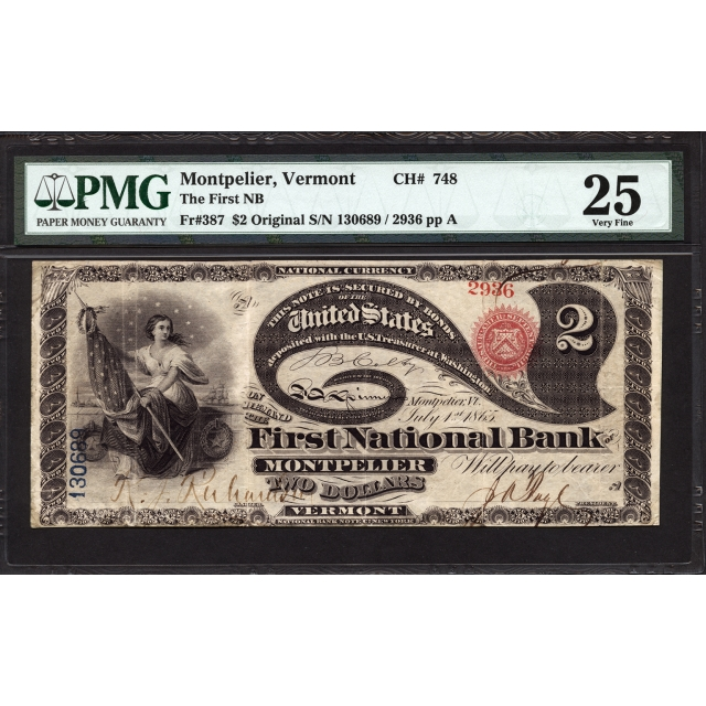 FR 387 $2 Original Series National Bank Note PMG 25