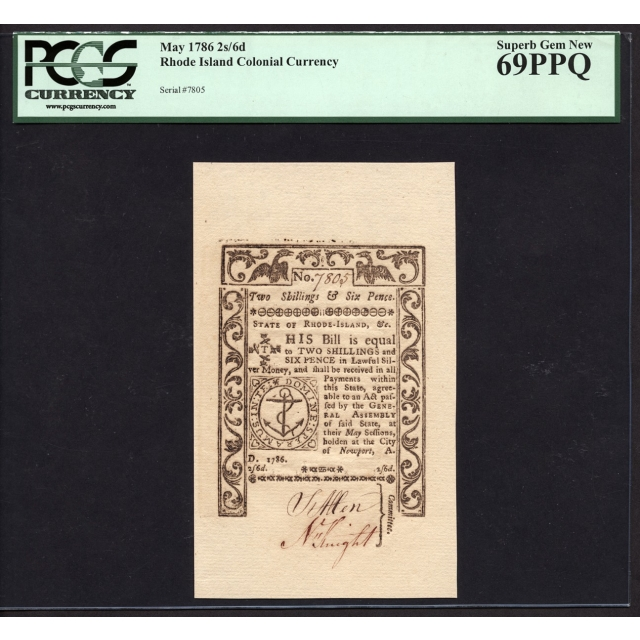 FR. RI-293 2s/6d May 1786 Rhode Island Colonial Note PCGS 69 PPQ