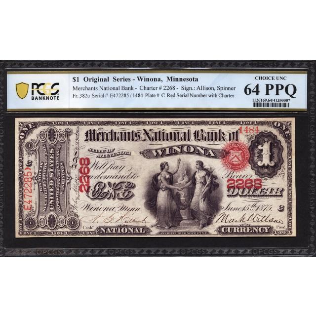 FR 382a $1 Original Series National Bank Note PCGS 64 PPQ