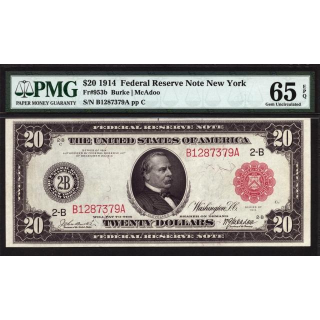 FR 953b $20 1914 Red Seal Federal FRN New York PMG 65 EPQ