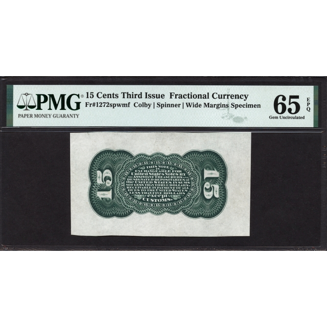 FR. 1272 Third Issue 15¢ Fractional Currency PMG 65 EPQ